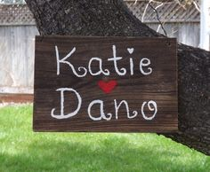 Custom Handpainted Wedding or Engagement Sign by SimmonsRanch. $32.00 USD, via Etsy.