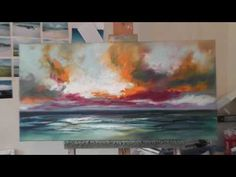 Speed Painting: Landscape Painting Demo- 'Ocean Blue' - YouTube