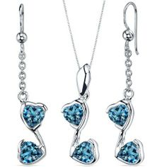 Cupid Duet 3.00 carats Heart Shape Sterling Silver with Rhodium Finish London Blue Topaz Pendant Earrings Set Peora. $44.99