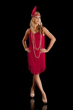 Fringe Flapper Dress 1920's Charleston Ladies Red New | eBay