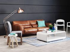conyac leather, copper and charcoal.  Domayne's Home Chic Magazine as seen in Marie Claire, In Style and Home Beautiful.
