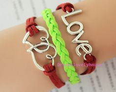 Christmas Gift, Antique Silvery ''Love'' ''Double Heart'' Charm, Red and Green Leather, Silvery Jewelry, Charm Bracelet, Personalized  C-17