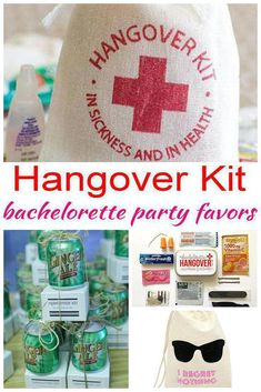 Bachelorette Party Favors! Best Hangover Kit Bachelorette Party Favors! Send your guests home with gifts they will love! From alcohol, hangover kits, survival kits, DIY, goodie bags and tons more ideas. Amazing ideas that friends and bride tribes will want from a themed Hangover Kit Bachelorette Party.