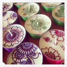 Handmade Henna Decorated Jumbo Tealights (Decor)