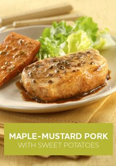 This Maple-Mustard Pork with Sweet Potatoes recipe is made with tender pork chops and sweet potato drizzled with a maple-mustard sauce flavored with oregano.
