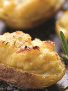 Twice Baked Hummus Potatoes with Rosemary - a healthy side or flavorful little appetizer. Naturally vegan, gluten-free, and allergy-friendly recipe.