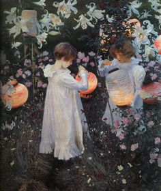 Carnation, Lily, Lily, Rose by John Singer Sargent 1885-6 #art #lanterns - Carefully selected by GORGONIA www.gorgonia.it