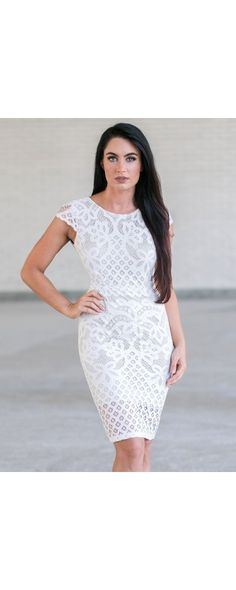 Lily Boutique Bel Air Beauty Lace Sheath Dress in Ivory, $34 Ivory Lace Sheath…