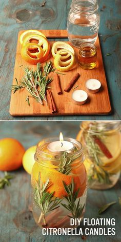 Get rid of those pesky mosquitoes with these all natural (and very beautiful) floating DIY citronella candles! Just fill a mason jar with some of YOUR favorite scents (we picked orange peels, cinnamon sticks, and rosemary), then add hot water and citronel Mason Jar Crafts, Mason Jars, Jelly Jar Crafts, Citronella Essential Oil, Essential Oils, Citronella Candles, Citronella Oil, Small Candles, Floating Candles
