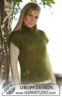 Ravelry: Loosely knitted tank top pattern by DROPS design Knitted Cape Pattern, Cardigan Pattern, Top Pattern, Free Pattern, Drops Design, Easy Knitting, Knitting Patterns Free, Crochet Girls, Knitwear Fashion
