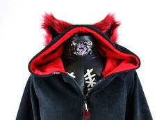 Fluffy Mew kitty hoodie YOU Pick Size and Color Theme cat jacket Cosplay Purple Anime Animal Pink Blue Orange Yellow Green Lime Neon 6151 on Etsy, $85.00