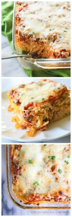 Baked Spaghetti - a dressed up version of spaghetti nice enough to take in to a family and still kid friendly.