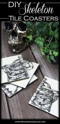 DIY Skeleton Tile Coasters Learn how to transform basic wall tiles into Skeleton Tile Coasters for your Gothic Home. A fun puzzle and functional home decor all in one! Tile Projects, Diy Craft Projects, Diy Crafts, Fabric Crafts, Craft Ideas, Goth Home Decor, Diy Home Decor, Gypsy Decor, Room Decor