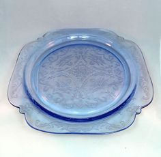 "Depression Glass Federal Co Blue Madrid Dinner Plate 10 1 2"" Scalloped 