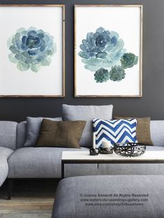 Succulent Poster Blue Teal Green Watercolour Painting Cactus