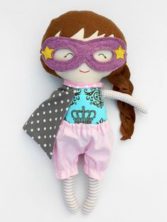RAG DOLL for superhero girls, gift for toddlers kids, pink and grey ragdoll to…