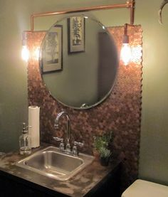 For the Home Love this industrial bath with copper penny backsplash! Storage Q&A: Storing Household Cheap Storage Containers, Penny Wall, Penny Backsplash, Pipe Lighting, Copper Penny, Industrial Bathroom, Girl House, Home And Deco, Furniture Making