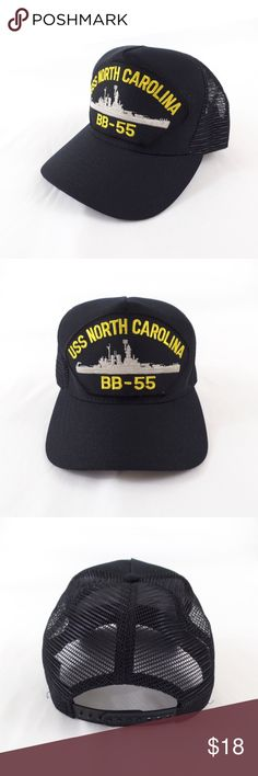 b836125bc4c USS North Carolina BB-55 US Navy Snapback Hat Navy blue snapback hat by  Eagle