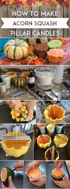 How To Make Acorn Squash Pillar Candles: Use this step-by-step guide from candlescience to make your own squash  pillar candles for Fall. This project used hollowed-out acorn squash for pillar candle molds, added seasonal colors and a hint of Cinnamon Chai Fragrance Oil.