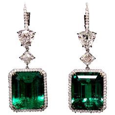 Important 45 Carat Colombian Emerald Earrings | From a unique collection of vintage drop earrings at https://www.1stdibs.com/jewelry/earrings/drop-earrings/