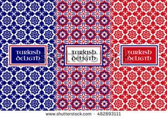 Turkish delight pattern vector. Set of seamless flower backgrounds and design elements for food packaging. Labels or tag for oriental products and sweet shops.