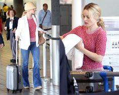 Rachel McAdams at Los Angeles International Airport, wearing a Marc by Marc Jacobs Bobbie Sweater in Red Rum. #rachelmcadams #style
