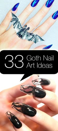 These goth nail art designs are darkly chic. Check out the designs that can be done by a pro or at home with a few simple nail tools — click above!