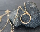 small dainty gold circle necklace, layering small tiny delicate everyday simple wedding bridesmaids gift