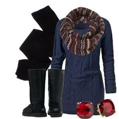 """love the scarf """"Cable Knit Sweater Dress"""" by qtpiekelso on Polyvore"""
