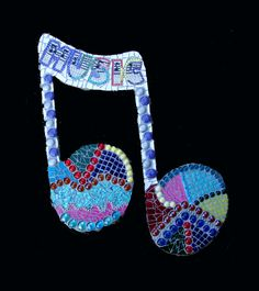 Music Note Mosaic Wall Hanging Ooak Original by zzbob on Etsy