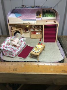The Country Retreat suitcase diorama/ dollhouse - Etsy LittledreamscapesCo Diy Dollhouse, Dollhouse Furniture, Diorama, Under Bed Drawers, Carpet Staircase, Mini Doll House, Sass & Belle, Barbie, Red Felt