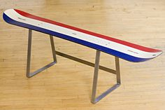 Eldorado K2 Snowboard Bench w/t stainless steel legs by Atelier688. This was one of my boards back in the days! Love it!