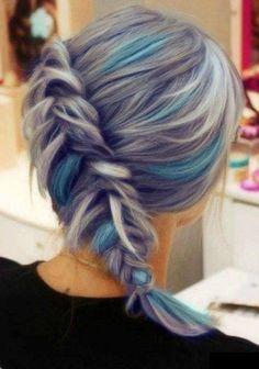 Grey hair with blue sand white streaks