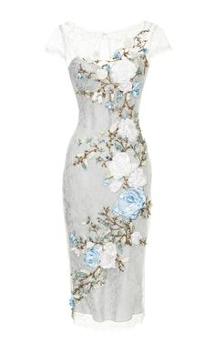Chantilly Lace Cocktail Dress With 3D Silk Ribbon Roses by Marchesa