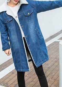 Denim Blue Faux Fur Collar Fleece Lined Coat