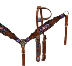 Headstall and breast collar with beaded inlay- Headstall and breast collar with beaded inlay