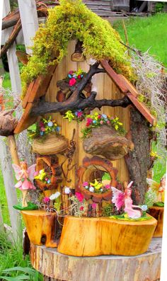 Fairy Cottage/ Eastern White Cedar Log Bird House by ARTWORKS4ME