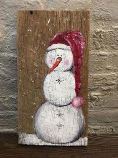 Primitive snowman sign, snowman painting on wood, Christmas art, holiday decor Diy Christmas Decorations Easy, Christmas Wood Crafts, Snowman Crafts, Christmas Signs, Rustic Christmas, Christmas Projects, Christmas Art, Holiday Crafts, Christmas Ornaments