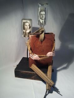"""Altered Antique Book Automata Assemblage Sculpture """"The French Resistance"""" by Bibliomaton. Etsy. Sculptures by Jeffrey Maib."""