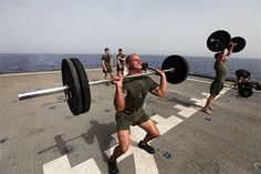 #‎HONORCOURAGESACRIFICE‬ Circuit-training Marines on a US Navy ship. Training for combat fitness never stops! This is how hard our troops work for us.