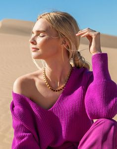 Stand out with solid bold colors—as shown against the Glamis sand dunes Gucci Sylvie, Leather Camera Bag, Valley Girls, Merino Wool Sweater, Bold Colors, San Diego, Spring Fashion, Hair Makeup, Seasons