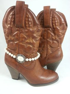 Pearl Cowgirl Boot Bracelet Boot Jewelry by CountryCoutureBootiq, $22.00
