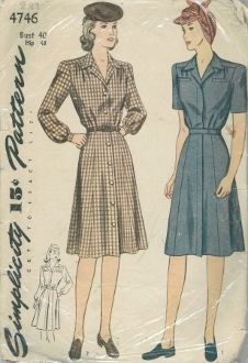 An original ca. 1940's Simplicity Pattern 4746.  The waist front and back are softly gathered to a yoke and the neckline is finished with a pert notched collar.  The skirt is seamed on each side of the center front and back.  Style I is fashioned with a fly-front opening, welt pockets and a self-fabric belt.  Style II laps and buttons down the front.  Belt carrier are joined in the waistline seams for a purchased belt.  Choose long or short sleeves.