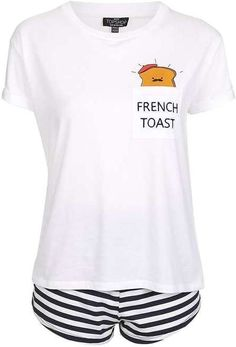 Dream of tomorrow mornings breakfast with this cute pyjama set, which comes with a French toast motif to the front of the tee and shorts in an all-over monochrome stripe detail. Petite Sleepwear, Cotton Sleepwear, Cotton Pyjamas, Topshop Pyjamas, Topshop Outfit, Pajamas Women, Pajama Set, Lounge Wear, Shoes
