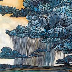 illustration art clouds line art weather rain Art Inspo, Kunst Inspo, Painting Inspiration, Art And Illustration, Illustrations, Arte Sketchbook, Art Design, Oeuvre D'art, Doodle Art