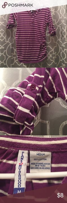 Purple quarter sleeve maternity top Purple medium planet motherhood shirt striped in purple and white Planet Motherhood Tops Tees - Long Sleeve