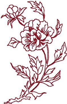 Redwork Chinese Folk Art Peony #2 Embroidery Design
