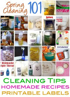 Spring Cleaning 101: Cleaning Tips, Homemade Recipes and Free Printable Labels @CraftBits & CraftGossip