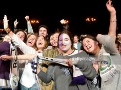 Real Madrid football club supporters celebrate the team's win on...
