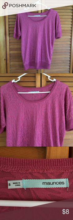 Maurices Mauve Sheer Floral Top Maurices brand | Size: S | Polyester blend | Sheer Floral Lace material | Zero flaws | Tags: #maurices #sheerfloraltop Maurices Tops Tees - Short Sleeve